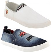 Clymb MR-1 White+Comfy Blue Combo Pack Of 2 Loafers For Men's In Various Sizes