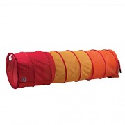 Pacific Play Tents Kids 6 Foot Institutional See-Thru Multi Color Padded Tunnel, Orange/Yellow