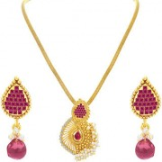 Sukkhi Astonishing Invisible Setting Gold Plated American Diamond Pendant Set For Women