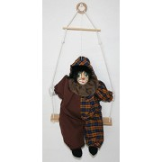 Clown Porcelain Doll 10 Inches, Head Porcelain, With Black Hair And Brown Plaid Jumpsuit And Hat, Look Just Perfect On The Wall. It Is Perfect For Collector And Christmas Gift.