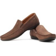 Clarks Finer Sun Genuine Leather Slip On Shoes(Brown)