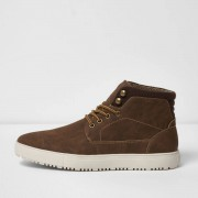 River Island Mens Brown lace-up hi top trainers