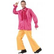 Vegaoo Rosa disckoskjorta med volanger för vuxna till maskeraden