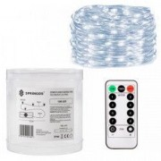 Instalatie luminoasa LED de Craciun 100 led-uri cu 8 functii lumina alb-rece 10m Alimentat cu baterii 3xAA
