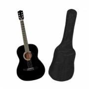 Chitara clasica din lemn 95 cm clasic black husa nylon cadou