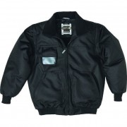 Giubbotto da lavoro panoply fashion reno nero tg. taglia m giacca bomber con porta badge e 5 tasche collo foderato in pile