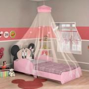Mini Cama Minnie Pura Magia Disney c/Dossel Teto Rosa Preto