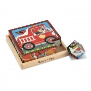Melissa & Doug Fa készségfejlesztő játék, Kockakirakó, járművek
