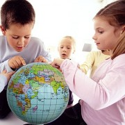 Set of 2, 14' Inflatable Political & Topographical Globes World Globe Map Beach Ball Learning Resources Gift Set...