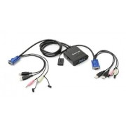 IOGear 2-Port USB VGA Cable KVM Switch with Cables, Remote, Audio and Mic, GCS72U