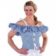 Merkloos Tiroler blouse Carmen blauw geruit