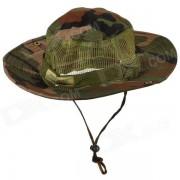 Algodon + malla de tela bloqueador solar suave rapido seco sombrero gorra para pesca / Camping - camuflaje verde