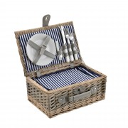 [casa.pro]® Piknik kosár - 2 személyes - evőeszköz, pohár, tányér (kék/fehér)