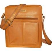Kan Men & Women Formal Tan Genuine Leather Sling Bag