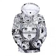 W-bnm23 Novedad Unisex 3D Impreso Ahegao Sudaderas con Capucha Bolsillos Sudadera con Capucha Sudaderas Loose 3D impresión Digital Ombligo Corto Pantalones Cortos de Manga Traje Mujeres