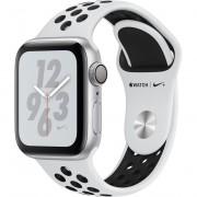 Smartwatch Apple Watch Nike+ Series 4 GPS, 40mm, Carcasa Silver Aluminium, Bratara Pure Platinum/Black Nike Sport Band
