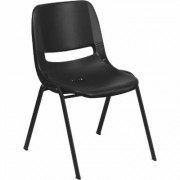Flash Furniture Plastic Student Stack Chair - Black w/Black Frame, 880-Lb. Capacity, Model RUTEO1BK