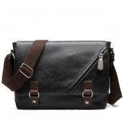 Men Black Messenger Bag PU Leather Business Shoulder Bag Casual Laptop Bag