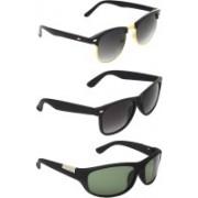 Zyaden Clubmaster, Wayfarer, Wrap-around Sunglasses(Black, Black, Green)