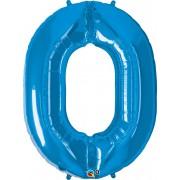 Number 0 Blue Super Shape Number Foil Balloon