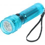 Geen Turquoise blauwe zaklamp met 14 LED lampjes 14 cm