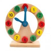 Pueri Wooden Shape Sorting Clock Teaching Clocks Digital Educational Toys for Toddler Kids