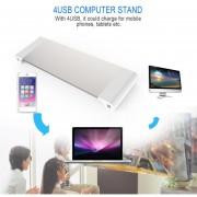 EB Portátiles De 4 Puertos USB Portátil Monitor De Soporte Del Monitor Aumentar El Soporte-plata Blanca