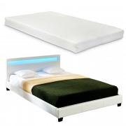 Corium® Moderná manželská posteľ s matracom 'Paris' - biela - 160 x 200 cm