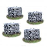 [pro.tec] Set de 4 gaviones - (Ø 60cm x 50 cm) (pack ahorro) gavión - macetero para plantas - cesta para piedras - muro