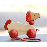 Simple Days Wooden Push and Pull Toy Walk-A-Long Puppy Toy with Rolling Wheels
