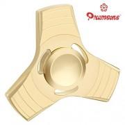 Premsons Fidget Spinner Metal Yellow BrassTriangular Head Hand Spinner Ultra Speed Tri-Spinner Toy - Metallic Gold