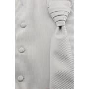 Svatební vesta s kravatou stříbrná s jemnými proužky Avantgard 552-44-52