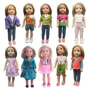 ZWSISU Children gift 5 sets Outfits doll Clothes Fit 14inch American Girl Doll Wellie Wisher Clothes