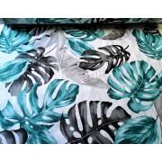 Elegáns vastagabb enyhén nyúlós polyester fehér alapon kék mintás 150 cm széles