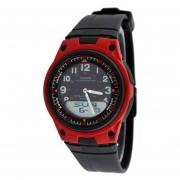 Reloj Casio Deportivo World Time AW-80-4B Para Caballero- Negro Y Rojo