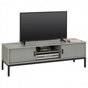 IDIMEX Meuble TV SELMA, 2 portes coulissantes, lasuré gris