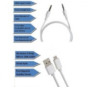 Pinnaclz Combo of Aux 1m + Ulta Fast 2Amp Micro USB Charging and Data Sync Cable 1m (White)