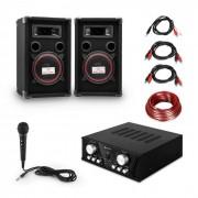 "Electronic-Star ""Easy"" DJ-Set black, amplificador PA, 2 x altavoces, micro, negro (PL_Easy_black)"