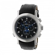 Heritor Automatic Kingsley Leather-Band Watch w/Day/Date - Silver/Black HERHR4802