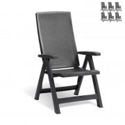 Allibert Montreal stoel - set van 6 stoelen - grafiet
