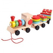 Happy Cherry Colourful Wooden Small Stacking Train Blocks Geometrical Shape Blocks Pull Along Train Stacker for 1-4 Year Baby Kids Toddler Child
