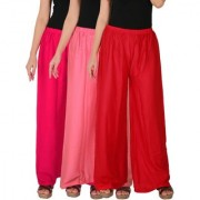Culture the Dignity Women's Rayon Solid Palazzo Pants Palazzo Trousers Combo of 3 - Magenta - Baby Pink - Red - C_RPZ_M1P2R - Pack of 3 - Free Size