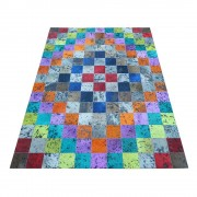Fell Teppich in Bunt Patchwork