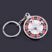 Lucky Russian Roulette Keychain Keychains Creative Metal Mini Spinning Casino Props Keyring Key Chain Ring Keyfob