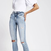 river island Womens Blue ripped high rise skinny jeans (8S)