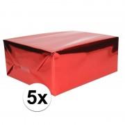 Shoppartners 5x Folie kadopapier rood metallic