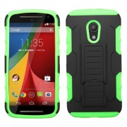 Funda Protector Motorola Moto G 2da Gen Mixto Negro Verde Pie Vertical