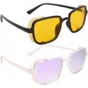 NuVew Wayfarer, Shield Sunglasses(Yellow, Violet)