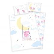 Lenjerie de pat copii, din bumbac, Peppa PigTo the moon, 100 x 135 cm, 40 x 60 cm