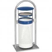 VAR Außen-Abfallsammler Volumen 65 l, BxHxT 580 x 1145 x 380 mm, mit Rohrbogen, Dach und Ascher blau / weiß